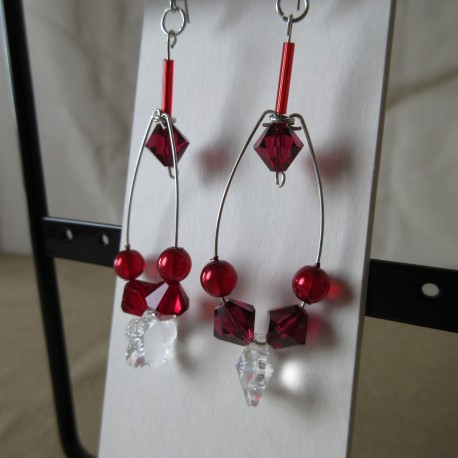 Boucles d'oreilles perles rocaille Swaroski et bohème BBO004001
