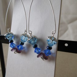 Boucles d'oreilles perles rocaille, Swaroski et bohème BBO004002