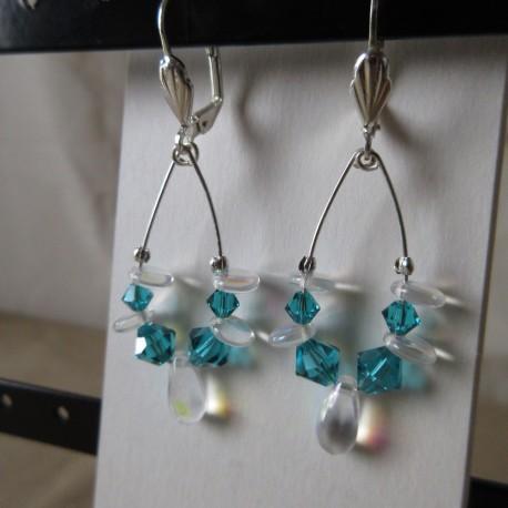 Boucles d'oreilles perles rocaille, Swaroski et bohème BBO004003