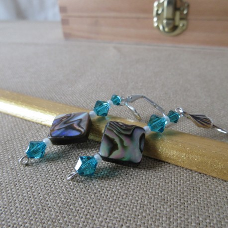 Boucles d'oreilles perles nacre abalone, Swaroski et rocaille BBO003001