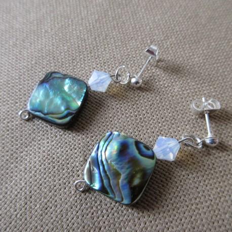 Boucles d'oreilles perles nacre abalone et Swaroski BBO003002