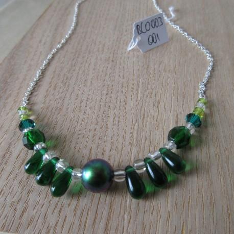 Collier perles Swaroski, bohême et rocaille semi-rigide BCO003001