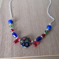 Collier perles Swaroski, façon murano, bohême et rocaille semi-rigide BCO003002