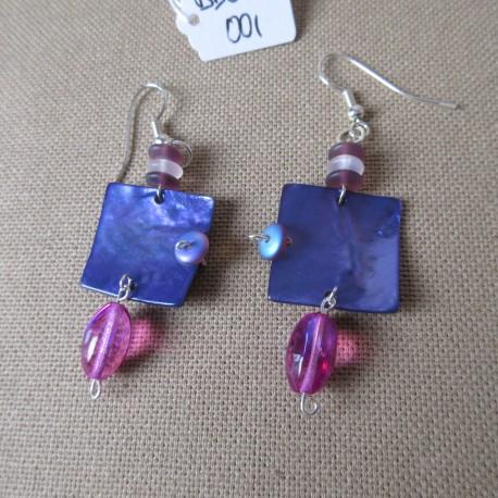 Boucles d'oreilles nacre et perles bohême BBO007001