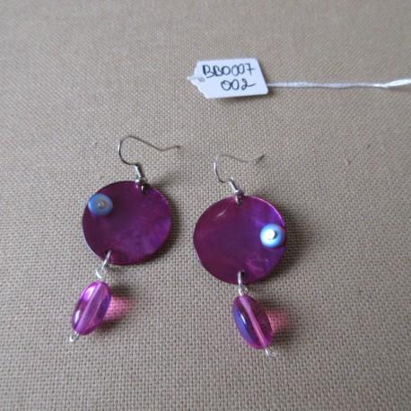 Boucles d'oreilles nacre et perles bohême BBO007002