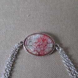 Bracelet artisanal résine sur chaîne trois rangs montée main anneaux soudés BBR002004
