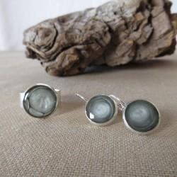 Parure boucles d'oreilles dormeuses et bague anneau large réglable résine et peintures spéciales (BPA002001)