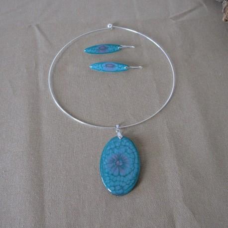 Parure boucles d'oreilles crochets argent 925 massif et pendentif collection ovale en résine et peintures spéciales (BPA006001)