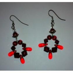 Boucles d'oreilles pendantes rouge