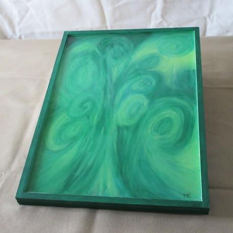 Tableau décoratif résine cadre bois naturel TAB005001