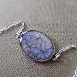 Bracelet artisanal résine sur chaîne montée main anneaux soudés BBR001008